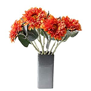 Mynse 6 Pieces Single Silk Flowers with Stem Artifciail Sunflower Multi-Layer Artificial Gerbera Daisy Flower 103