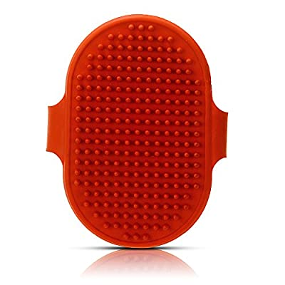 FACILLA Pet Dog Bath Shower Massage Brush Grooming Comb Soft Rubber Grip Red