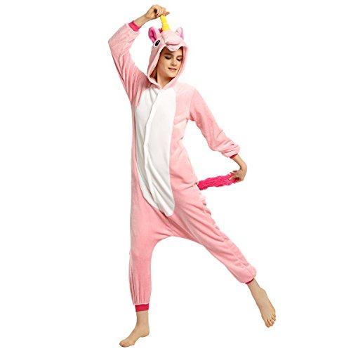 Adult Unisex Flannel Unicorn Animal Onesies Pajamas Kigurumi Onepiece Cosplay Costume (L, (Man In A Unicorn Costume)