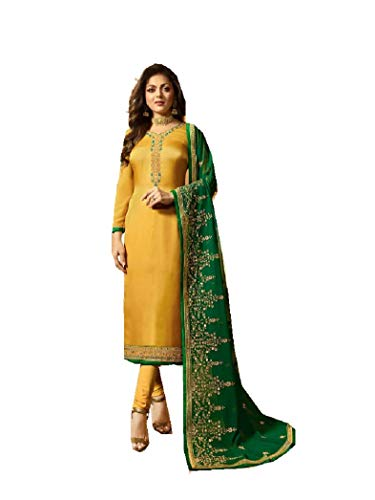 Delisa Designer Wedding Partywear Silk Embroidered Salwar Kameez Indian Dress Ready to Wear Salwar Suit Pakistani LTN (Yellow, MEDIUM-40)