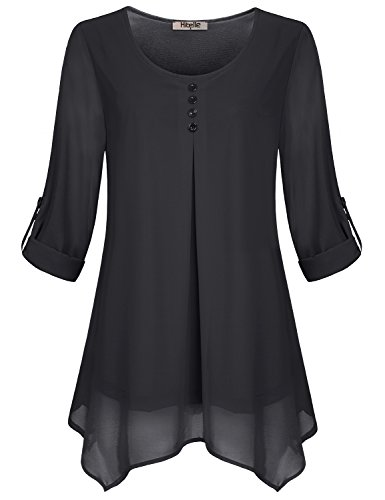 Hibelle Chiffon Blouses, Winter Tops For Women Office Cuffed Sleeve Black Tunic Flare Drape Ruched Formal Shirt Chic Simple Classic Comfortable Long Pullover Scallop Hem Plus Size XXL 2XL