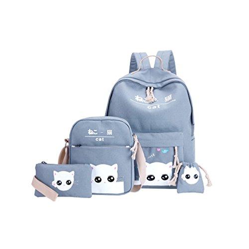 Vbiger Canvas Kids Backpack Set 4pcs Casual Kitty School Bag for Teenage Girls (Light blue) - Kitty School Bag