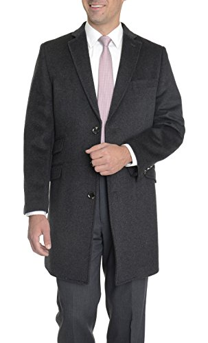 The Suit Depot Regular Fit Solid Gray Wool Cashmere Blend 3/4 Topcoat Overcoat (Coat Blend Top)