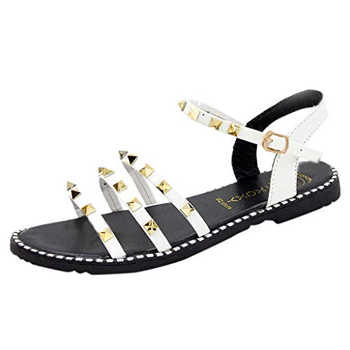 - Aunimeifly Women's Summer Roma Flats Three Bands Rivets Ankle Buckle Sandals Casual Open Toes Shoes White