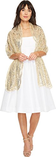 Betsey Johnson Women's Tulle Wrap with Sequin Scallop Pattern Gold One Size
