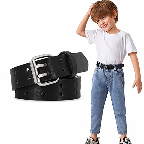Kids PU Leather Belt for Boys Girls Teens with Doulbe Prong Pin Buckle, Black, Fit Waist Size below 31Inches