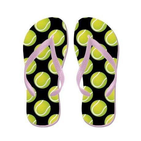 Lplpol Tennis Balls Flip Flops for Kids S with Pink Flip Flops Belt