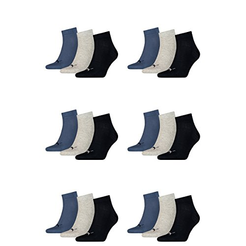 18 pair Puma Sneaker Quarter Socks Unisex Mens & Ladies 532 - navy/grey/nightshadow b