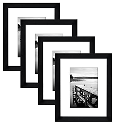 Americanflat 4 Pack - 8x10 Black Picture Frames - Made to Display Pictures 5x7 Mats 8x10 Without Mats