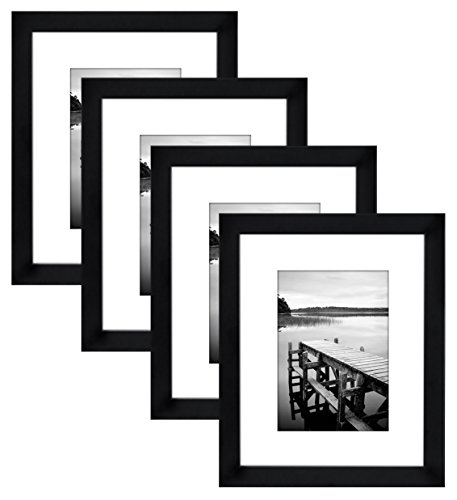 Americanflat 4 Pack - 8x10 Black Picture Frames - Display Pictures 5x7 with Mats - Display Pictures 8x10 Without - Frame 8x10 With Mat Picture Black