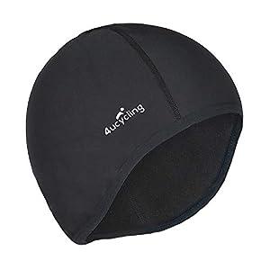 4ucycling Skull Cap & Helmet Liner for Cycling Running Beanie Thermal Fleeced 10% Spandex for Men & Women Black