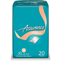 "Assurance Bed Or Chair Flat Underpads 36"" x 30"" - 20 Per Pack - XL Maximum Absorbency - Protect Furniture NOW! With OdorBlock"