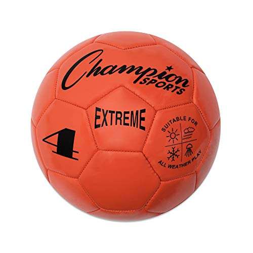 Champion Sports Extreme Series Soccer Ball, Size 4 - Youth League, All Weather, Soft Touch, Maximum Air Retention - Kick Balls for Kids 8-12 - Competitive and Recreational Futbol Games, Orange