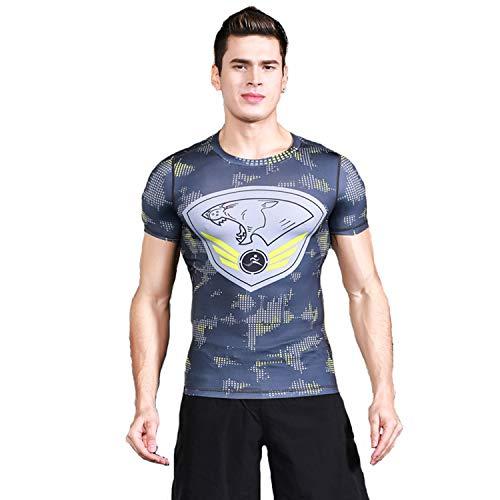 XJH Men's XL Crew Neck Dark Gray Compression Sports Short Sleeve Tee Graffiti Logo Fitness Gym -