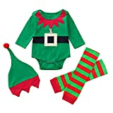 Newborn Christmas Romper Sets,Jchen(TM) Infant Baby Boys Girls Christmas Xmas Embroidery Romper Leggings Hat Outfits Set for 0-24 Months (Age: 6-12 Months)