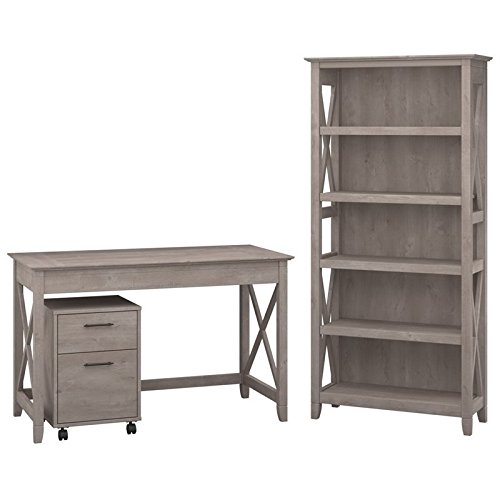 Bush Furniture KWS002WG Key West 48W Writing Desk with 2 Drawer Mobile Pedestal and 5 Shelf Bookcase, Washed Gray by Bush Furniture