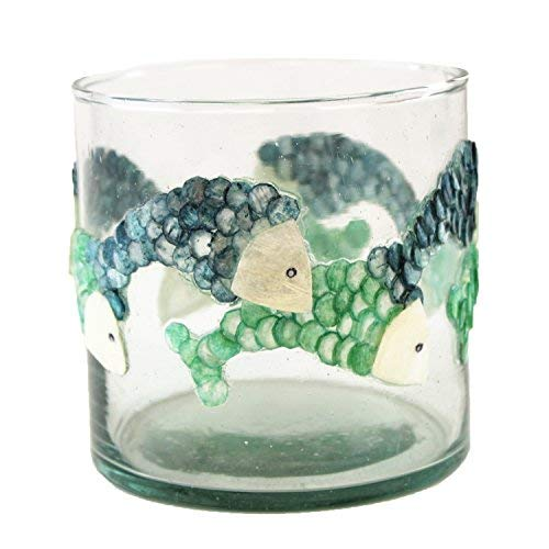 Beachcombers 2.5 x 3 Inch Colorful Fish Capiz and Glass Decorative Votive Candle Holder ()