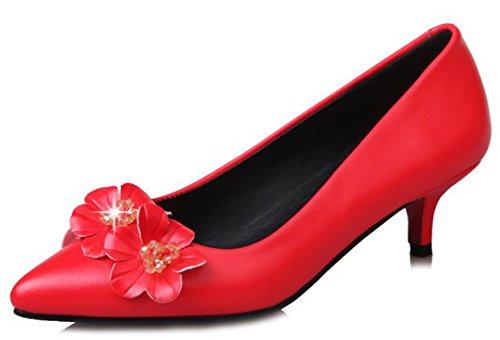 Idifu Damesschoenen Bloemen Puntige Slip Op Middelste Kitten Hakken Pumps Schoenen Rood