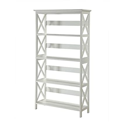 Svitlife Glossy White 5 Shelf Bookcase Storage Bookshelf Wood