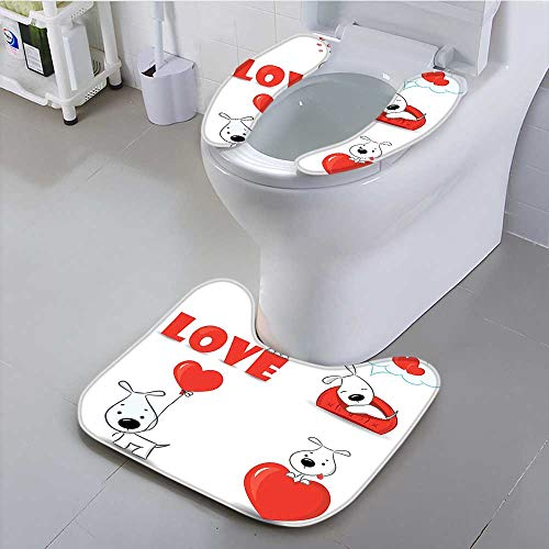 Universal No Symbol - Leighhome Universal Toilet seat Set of Dogs with Heart Symbols My Pet Friends Companions Ever Theme Red White Cushion Non-Slip