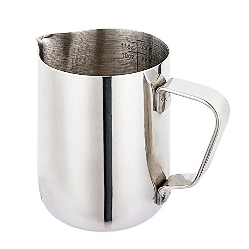 Milk Frothing Pitcher, Funnyletric Steaming Pitcher 12 oz (350 ml) with Measurement Perfect for Milk Frothing, Latte Arts