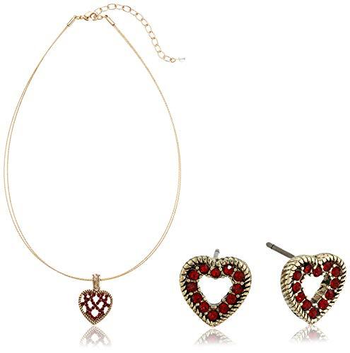 Napier Women's Red Tone Heart Motif Necklace Earring Jewelry Set