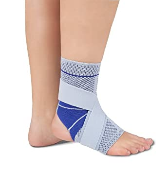Bauerfeind MalleoTrain S Open Heel Ankle Support, Right 1, Titanium/Gray with Blue Accents