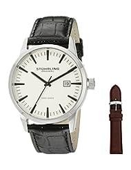 Stuhrling Original Men's 555A.03 Classic Ascot II  Swiss Quartz Date Champagne Dial Strap Set Watch