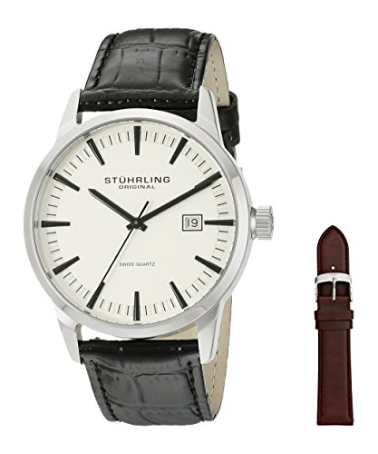 Stuhrling Original Men's 555A.03 Ascot II Analog Swiss Quartz Black Leather Watch