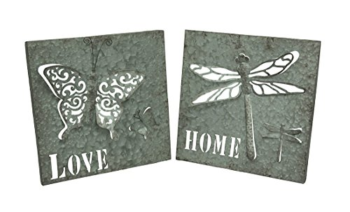Zeckos Galvanized Butterfly and Dragonfly 2 Piece Set of 3D Metal Wall Plaques