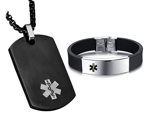 NJ Customized Medical Alert Jewelry Set - Name ICE Custom Medical Alert Dog Tag ID Pendant Caduceus Necklace Set Silicone Medical ID Health Alert Monitoring Systems Jewelry Sets