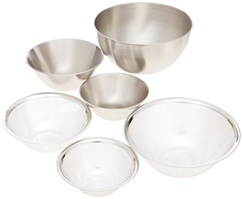 Sori Yanagi stainless bowl punchingstrain​er (16.19.23) 6pcs by Sori Yanagi