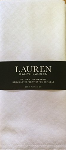 Ralph Lauren Clarendon Snow White Napkins, Set of 4