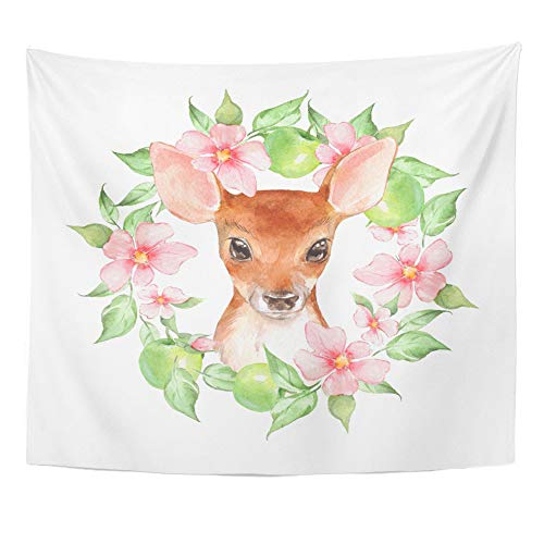 Emvency Tapestry Artwork Wall Hanging Animal Baby Deer and Flowers Cute Fawn Watercolor Artistic 50x60 Inches Tapestries Mattress Tablecloth Curtain Home Decor Print ()