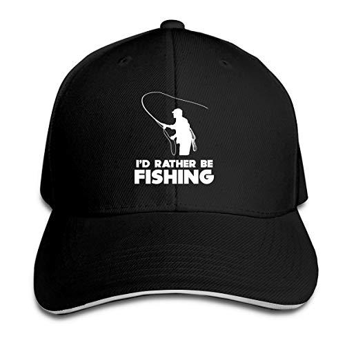 I'd Rather Be Fishing Adjustable Baseball Cap Unisex Dad Hats Sandwich Cap Black
