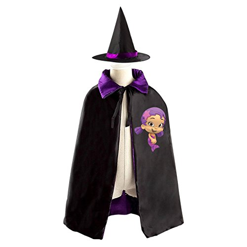 Purple Pie Halloween Man Costume (Bubble Guppies Oona Halloween Costumes Decoration Cosplay Witch Cloak with Hat)