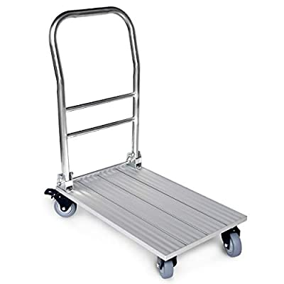 "Vtuvia Folding Aluminum Platform Cart with Secure Brakes on Swivel Wheels, 660 lbs Heavy Duty, 28""x17"" Flatbed Hand Truck Push Moving Dolly Trolley, Lightweight, Portable for Commercial and Home Use"