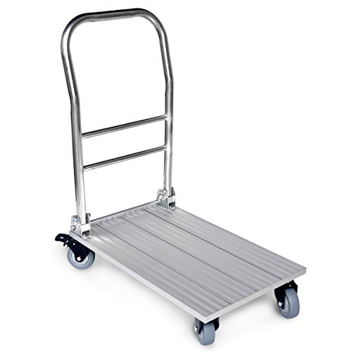 - Vtuvia Folding Aluminum Platform Cart with Secure Brakes on Swivel Wheels, 660 lbs Heavy Duty, 28
