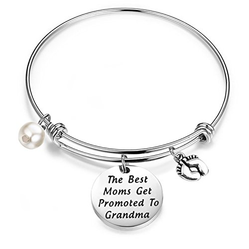 FEELMEM New Grandma Gift The Best Moms Get Promoted to Grandma Bangle Bracelet with Baby Footprint Charm (Silver)