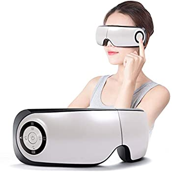 Electric Eye Massager with Heat Temple Massager Eyes Massager - Eye Stress Relief Machine with Heat Compression, Air Pressure for Fatigue Relief and Vibration for Refresh Mind-Soft Fabric.