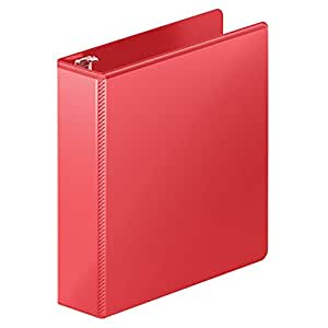 Wilson Jones Heavy Duty Round Ring View Binder with Extra Durable Hinge, 2 Inch, Customizable, Red (W363-44-1797)
