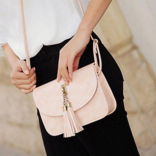 Milya Retro-Taschen Damen Handtasche Portemonnaie PU Leder Satchel Small Umhängetasche Mode-Design mit Quasten Sechs Farben sechs Arten von Auswahl Pink