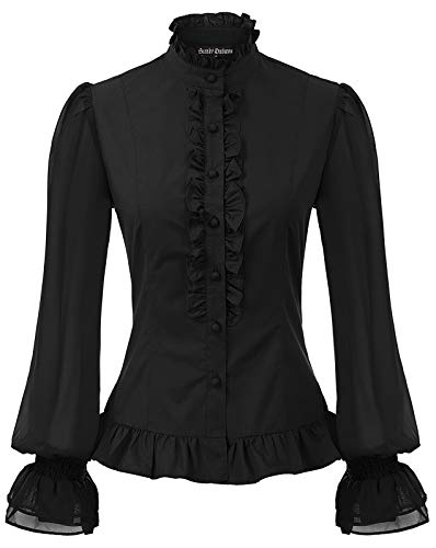 Womens Victorian Blouse Gothic Costume Ruffle Lotus Pleated Vintage Top Black S -