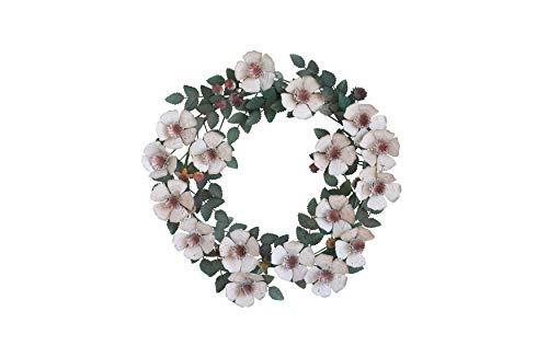 - Creative Co-Op Round Hand Painted Tole Metal Flower Wreath