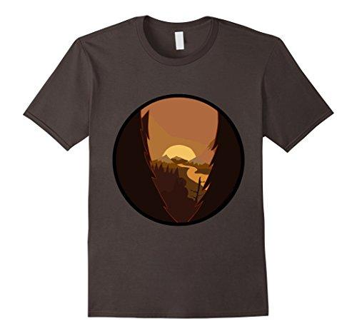 Mens Nightfall In Nature Firewatch T Shirt Medium Asphalt