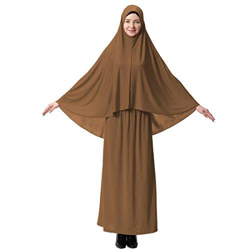 pipistrello lungo alto vestito donna quelli hijab islamica due ala Gnaixeh pezzo con Cammello di musulmana manica elastica S7zqATcwZ
