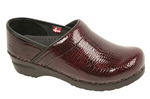 Sanita Professional Women's Croco Leather Clogs (EU-38 (7-7.5 US), Bordeaux)