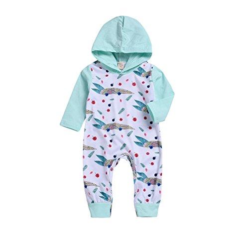 MLCHNCO Infant Baby Boys Girls Jumpsuit Hoodie Romper Long Sleeve Printed Fruit Bodysuit Clothes - Fruits Hoodie