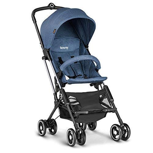 besrey Airplane Stroller One Step Design for Opening Folding Lightweight Baby Stroller for Infant Convertible Baby Carriage