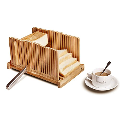 WELLAND Bamboo Bread Slicer Guide, Foldable Wooden Toast Cutting Guide with 3 Slicing Sizes for Homemade Breads, Loaf Cakes by WELLAND